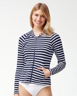 Breton Stripe Long-Sleeve Full-Zip Rash Guard