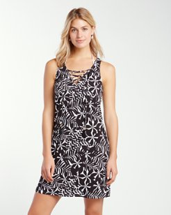 Pinwheel Palms Lace-Front Dress