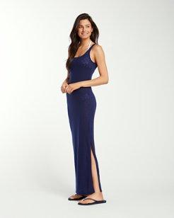 Slub Knit Side-Slit Maxi Dress