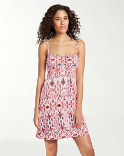 Ikat Coral Tie-Front Over-the-Shoulder Swim Dress