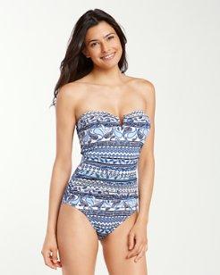 Paisley Terrace V-Front Bandeau One-Piece Swimsuit
