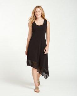 Knit & Chiffon Scoop-Neck Tea-Length Dress