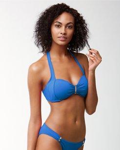 Pearl Halter Bikini Top With Hardware