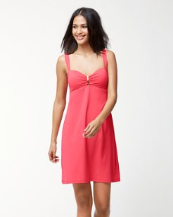 Pearl Over-The-Shoulder Shirred Swim Dress With Hardware