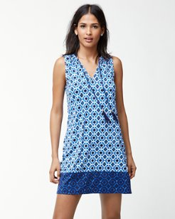 Shibori Splash Split-Neck Swim Dress