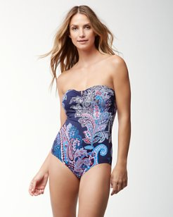 Paisley Leaves V-Front Bandeau One-Piece Swimsuit
