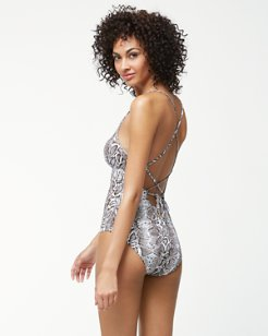 Snake Charmer Low-Back One-Piece Swimsuit