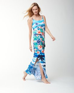 Floral Showers Button-Front Maxi Dress