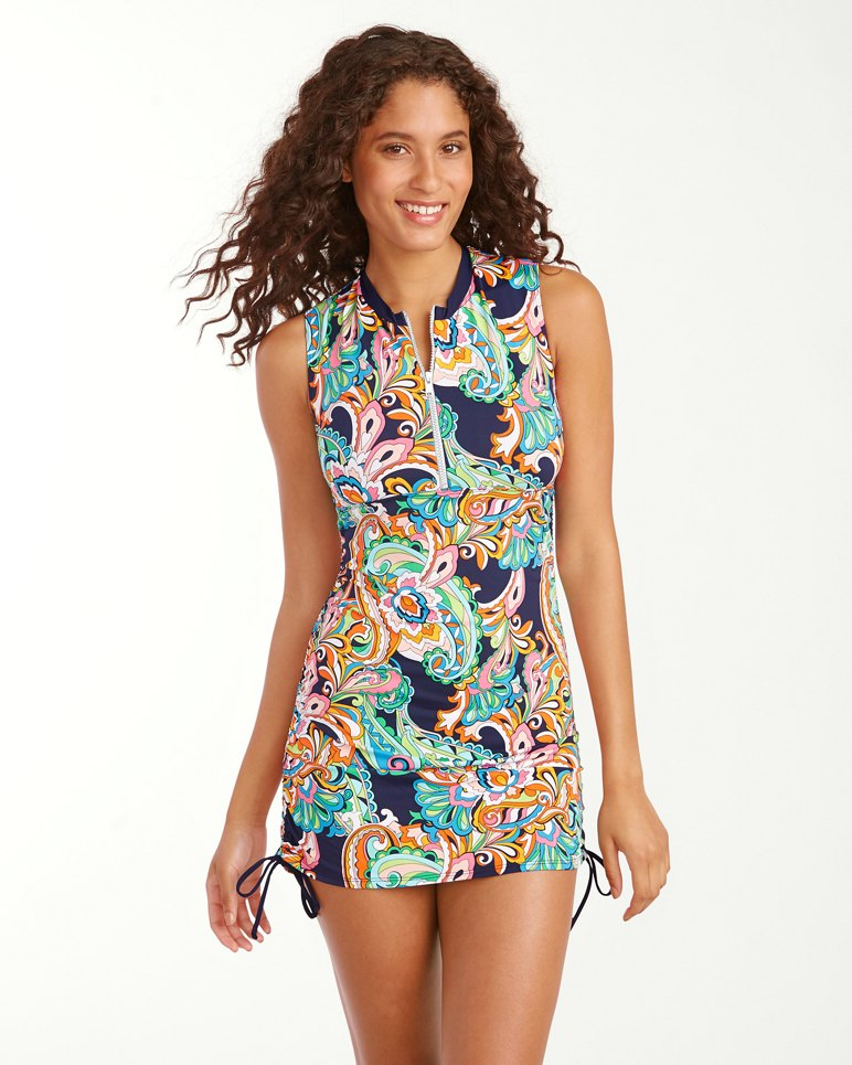 Main Image for Mare Paisley Sleeveless Half-Zip Rash Guard Dress
