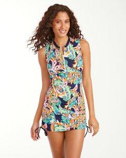 Mare Paisley Sleeveless Half-Zip Rash Guard Dress