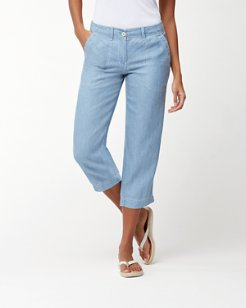 Sea Glass Linen Cropped Pants