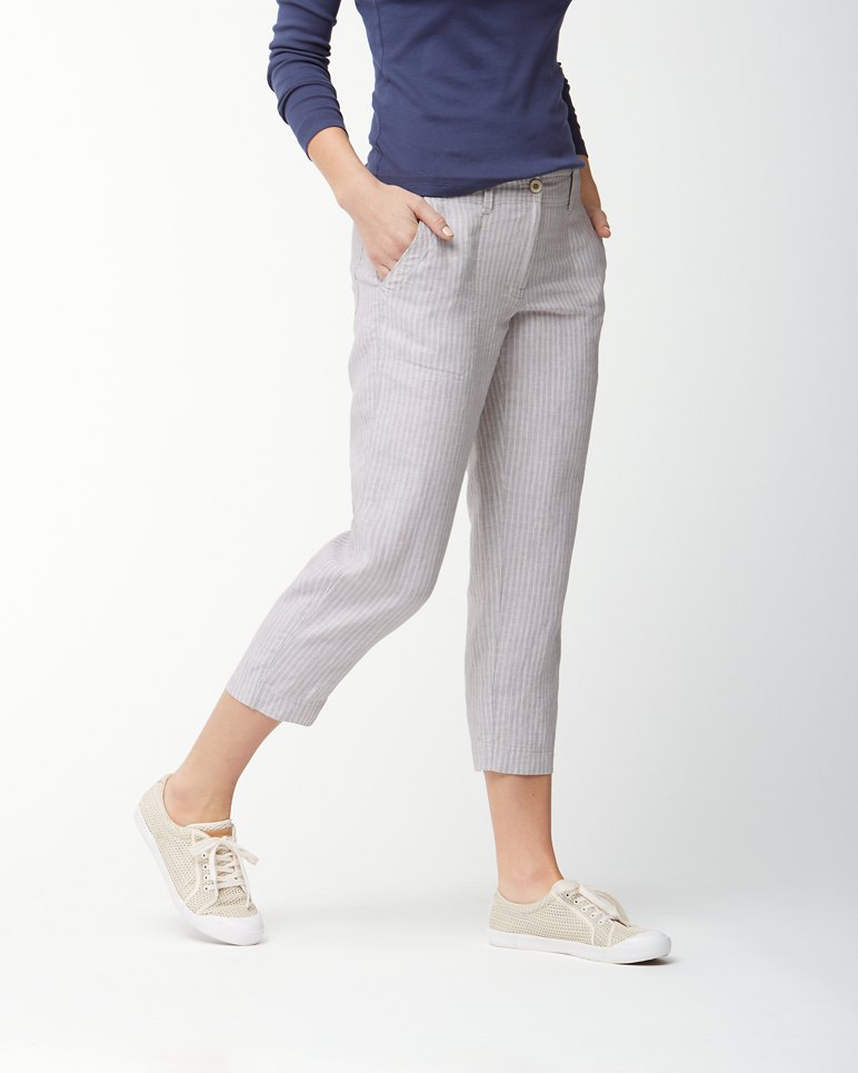 Main Image for Serres Stripe Linen Cropped Pants