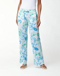 Florals Falling Linen-Blend Pants
