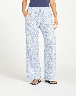 Watercolor Tiles Linen Pants