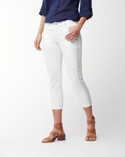 Ana Twill Embroidered Cropped Jeans