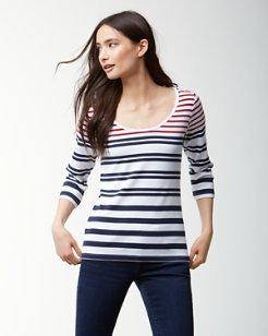 Indio Sedaris Stripe 3/4-Sleeve T-Shirt