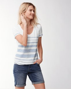 Geo Embroidered Scoop-Neck T-Shirt