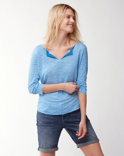 Sea Of Crete 3/4-Sleeve High-Low Linen Top