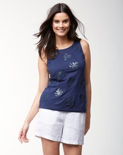 Linnea Monstera Leaf Sequined Linen Tank