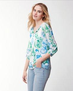 Florals Falling Linen 3/4-Sleeve Tunic