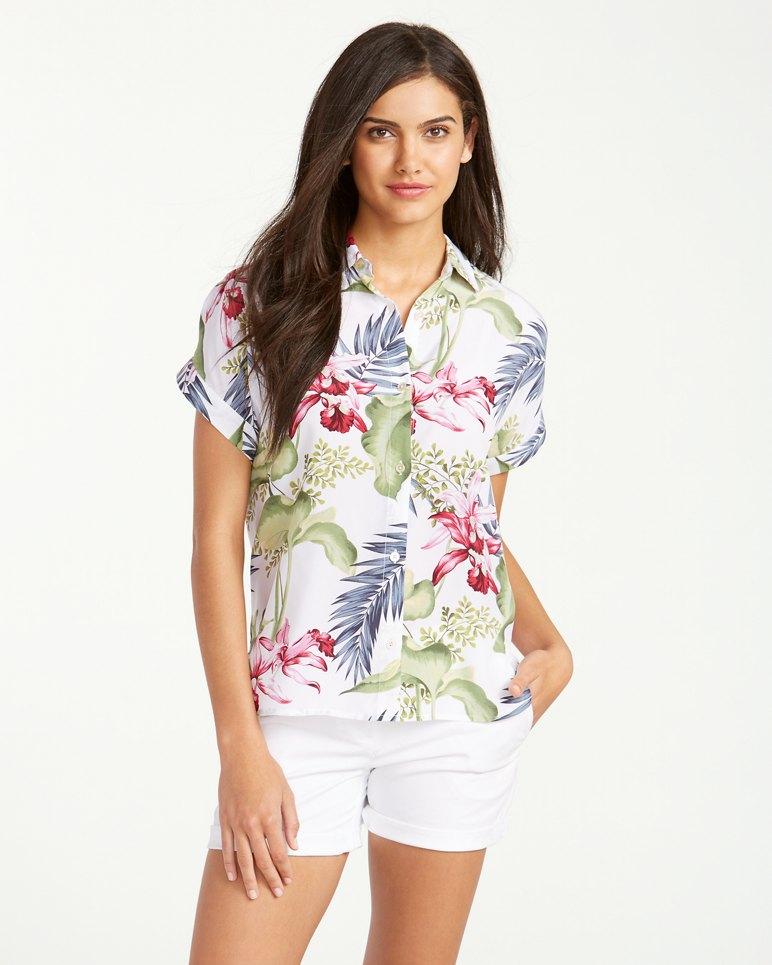 Main Image for Lillium Gardens Short-Sleeve Silk Boyfriend Shirt