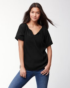 Coastview Gauze Short-Sleeve Top