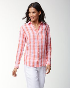 Island Plaid Linen Boyfriend Shirt