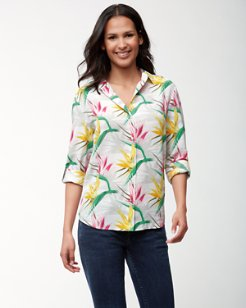 Bird de Paradise Long-Sleeve Silk Camp Shirt