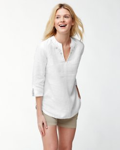 Two Palms Linen 3/4-Sleeve Embroidered Tunic