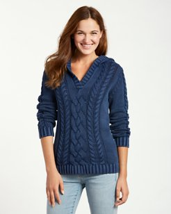 Sea Glass Hooded Cable-Knit Sweater