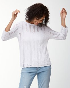 Cedar Pointelle Linen Boatneck Sweater