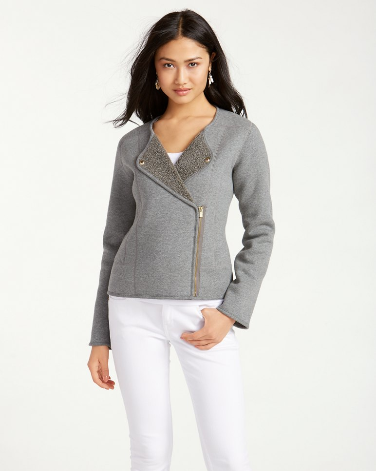 Main Image for Faux-Shearling-Lined Knit Moto Jacket