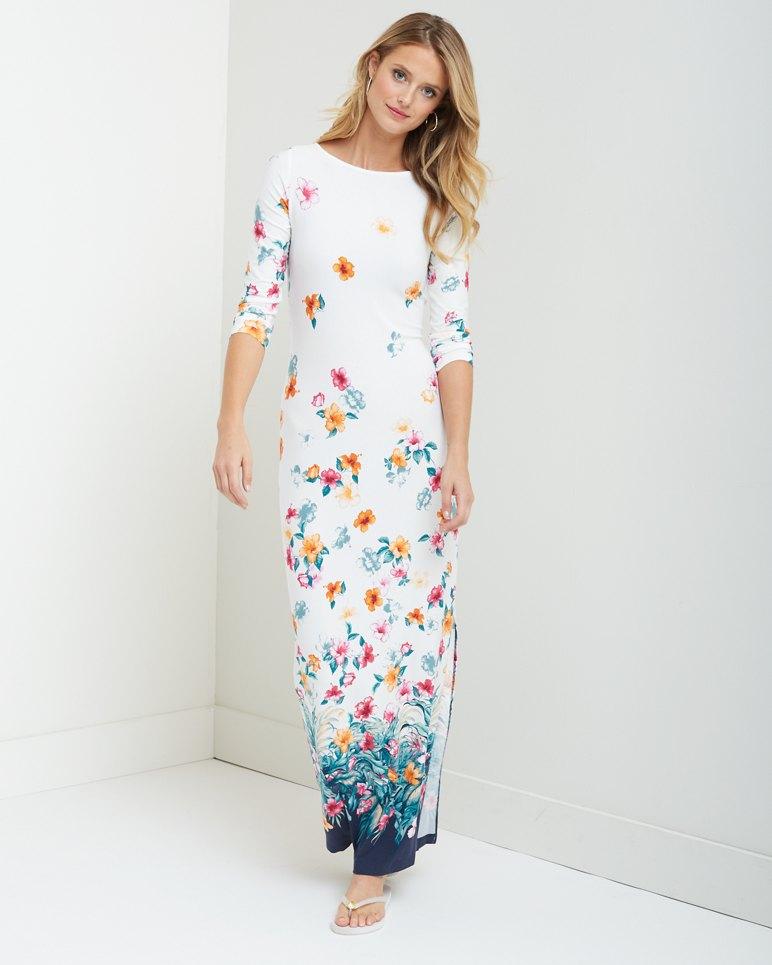 Beachy Blossoms Border Maxi Dress