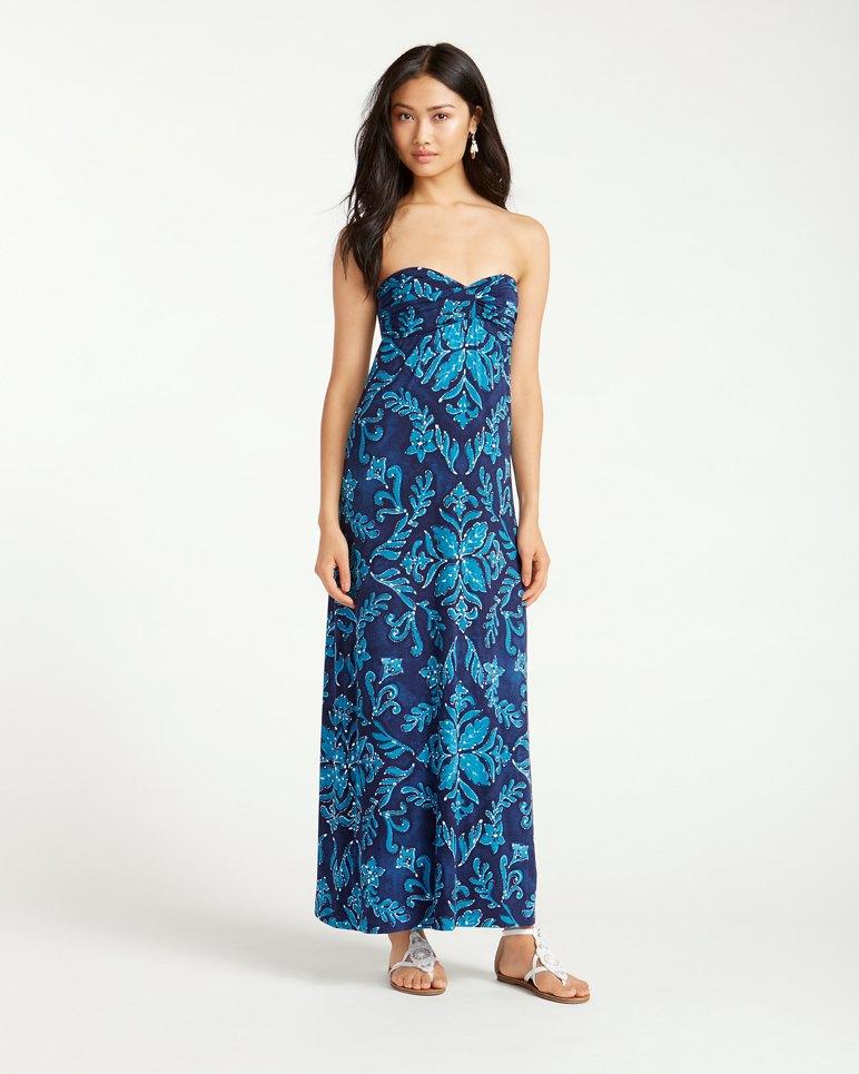 Indigo Flora Tambour Strapless Dress