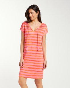 Bossa Nova Stripe Stretch-Linen Dress