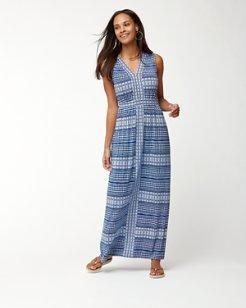 Greek Grid Tambour Sleeveless Maxi Dress