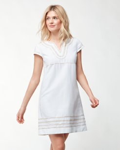 Embroidered Linen-Blend Dress