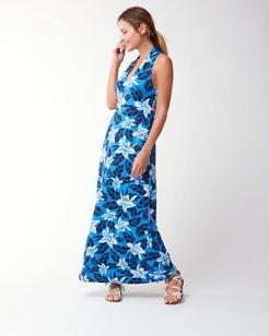 Olympias Blooms Linen Jersey Maxi Dress