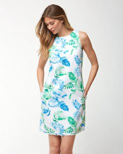 Florals Falling Linen-Blend Shift Dress