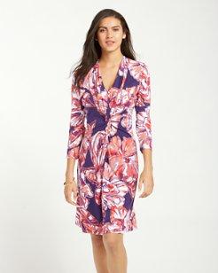 Brushstroke Blooms Tambour Twist-Front Dress