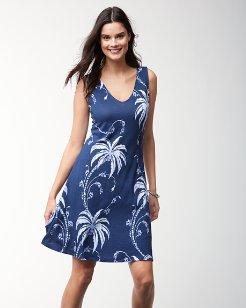 Palm Tree Tropics Sleeveless Dress