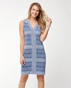 Greek Grid Tambour Sleeveless Dress