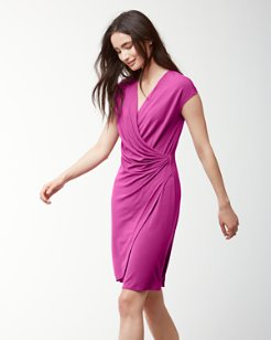 Tambour Faux-Wrap Dress