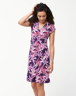 Orchid You Not Tambour Faux-Wrap Dress