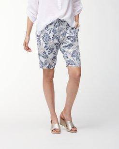 Olympias Blooms 10-Inch Linen Bermuda Shorts